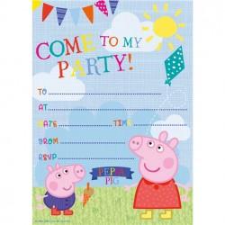 Peppa Big Uitnodigingen - 5 stuks inclusief enveloppen